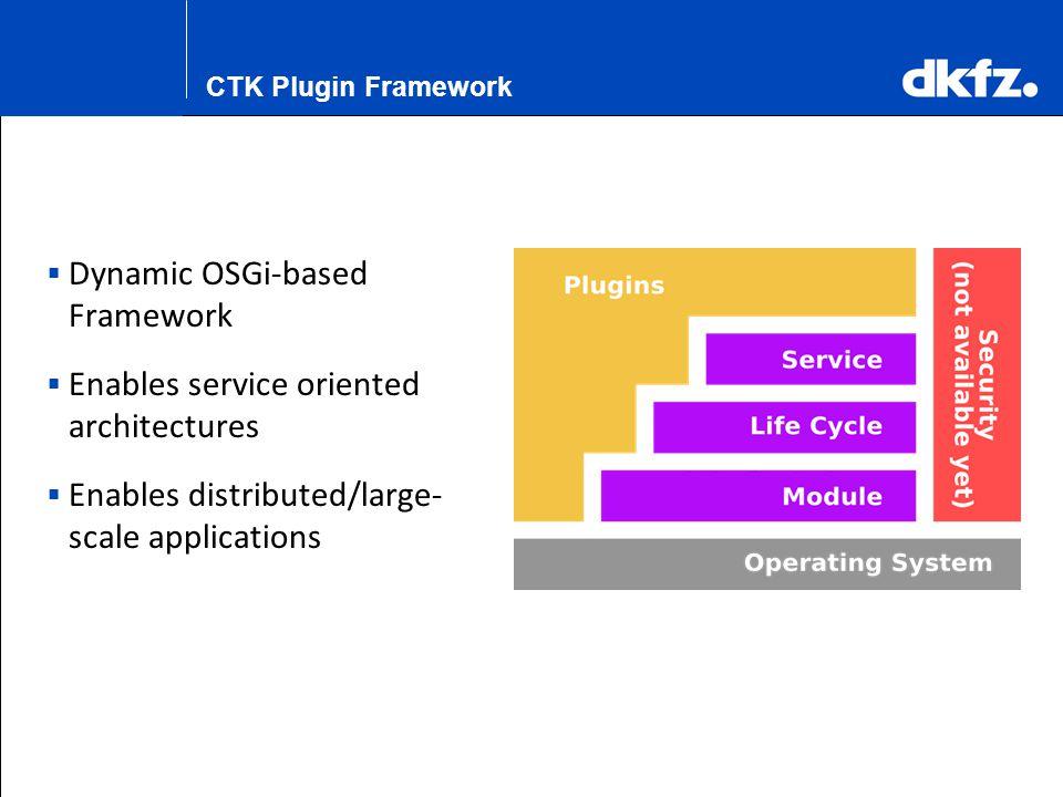 K.H. Maier-Hein CTK Plugin Framework  Dynamic OSGi-based Framework  Enables service oriented architectures  Enables distributed/large- scale applic