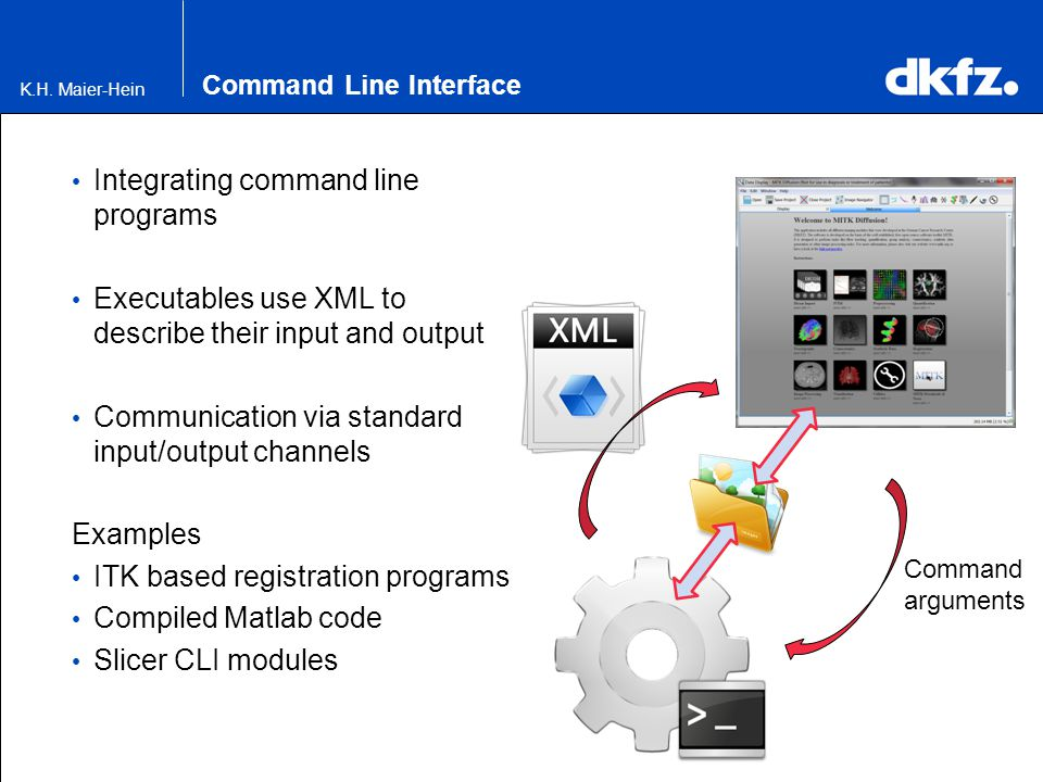 Command Line Interface Integrating command line programs Executables use XML to describe their input and output Communication via standard input/outpu
