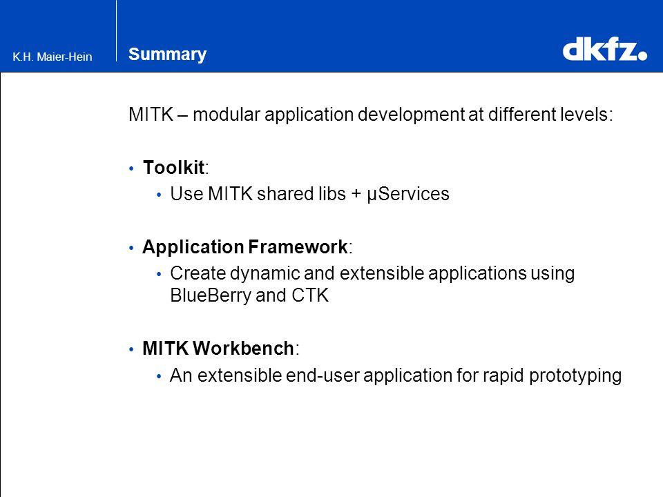 K.H. Maier-Hein Summary MITK – modular application development at different levels: Toolkit: Use MITK shared libs + µServices Application Framework: C