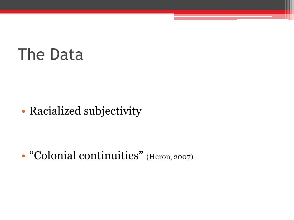 The Data Racialized subjectivity Colonial continuities (Heron, 2007)