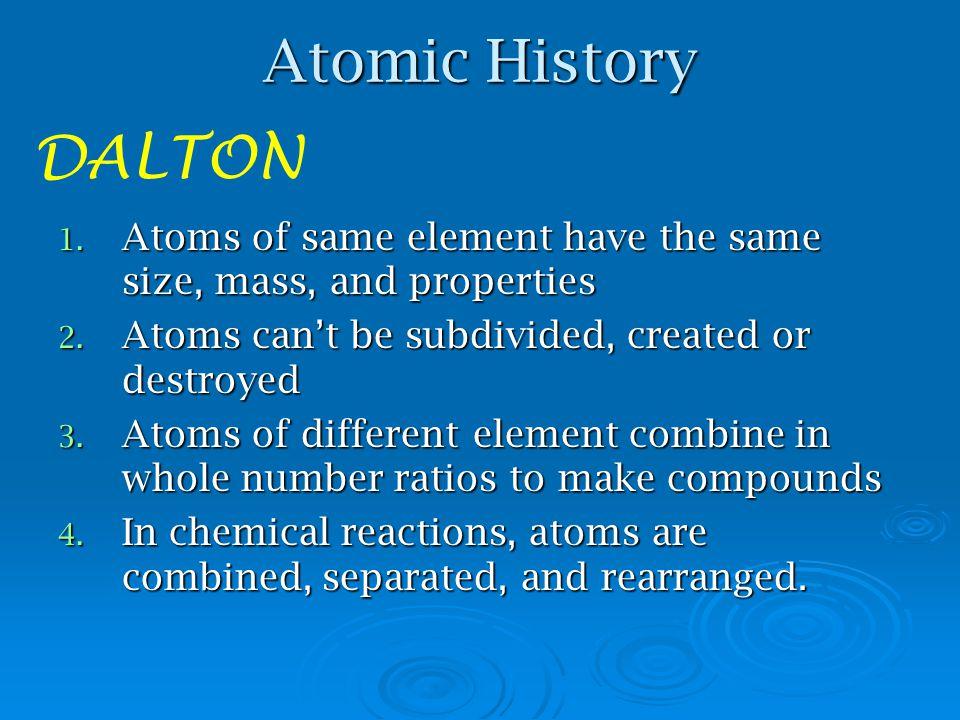 "Atomic History DEMOCRITUS named the most basic particle named the most basic particle atom- means ""indivisible atom- means ""indivisible"