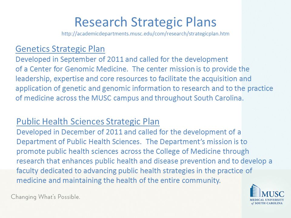 Research Strategic Plans http://academicdepartments.musc.edu/com/research/strategicplan.htm Genetics Strategic Plan Developed in September of 2011 and called for the development of a Center for Genomic Medicine.