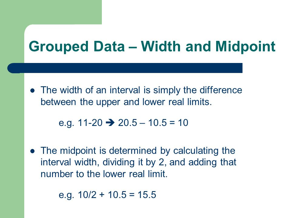Mean Deviation for Grouped Data Again grouped data implies we substitute frequencies and midpoints for values: The mean would be $50,000 (satisfy yourself that that is true) and the MD would be (6|38-50|) + (8|43-50|) + (12|48-50|) + (12|53-50|) + (8|58-50|) +(4|63-50|) = 72+56+24+36+64+52 = 304/50 = 6.080 x 1000 = 6,080