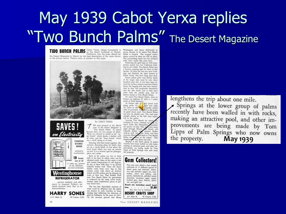 May 1939 Cabot Yerxa replies Two Bunch Palms The Desert Magazine