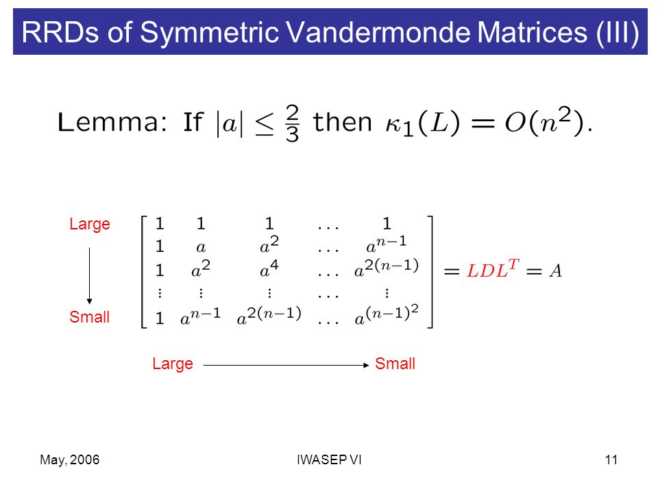 May, 2006IWASEP VI11 RRDs of Symmetric Vandermonde Matrices (III) Large Small LargeSmall