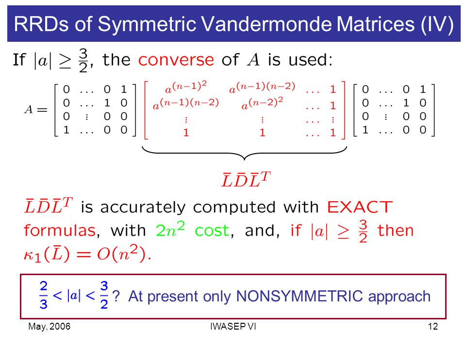 May, 2006IWASEP VI12 RRDs of Symmetric Vandermonde Matrices (IV) .