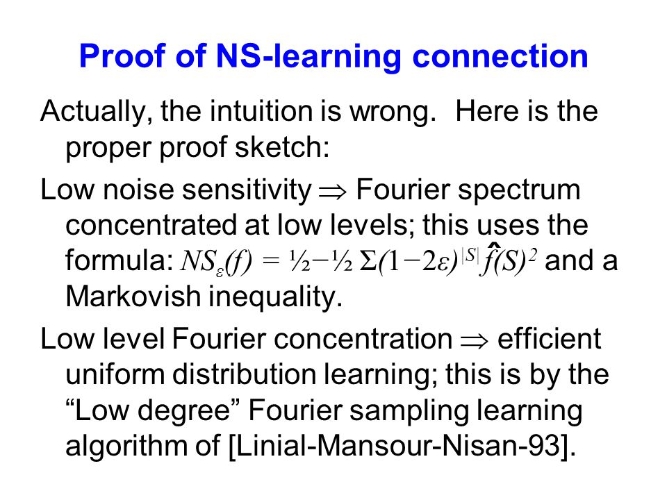 Proof of NS-learning connection Actually, the intuition is wrong.