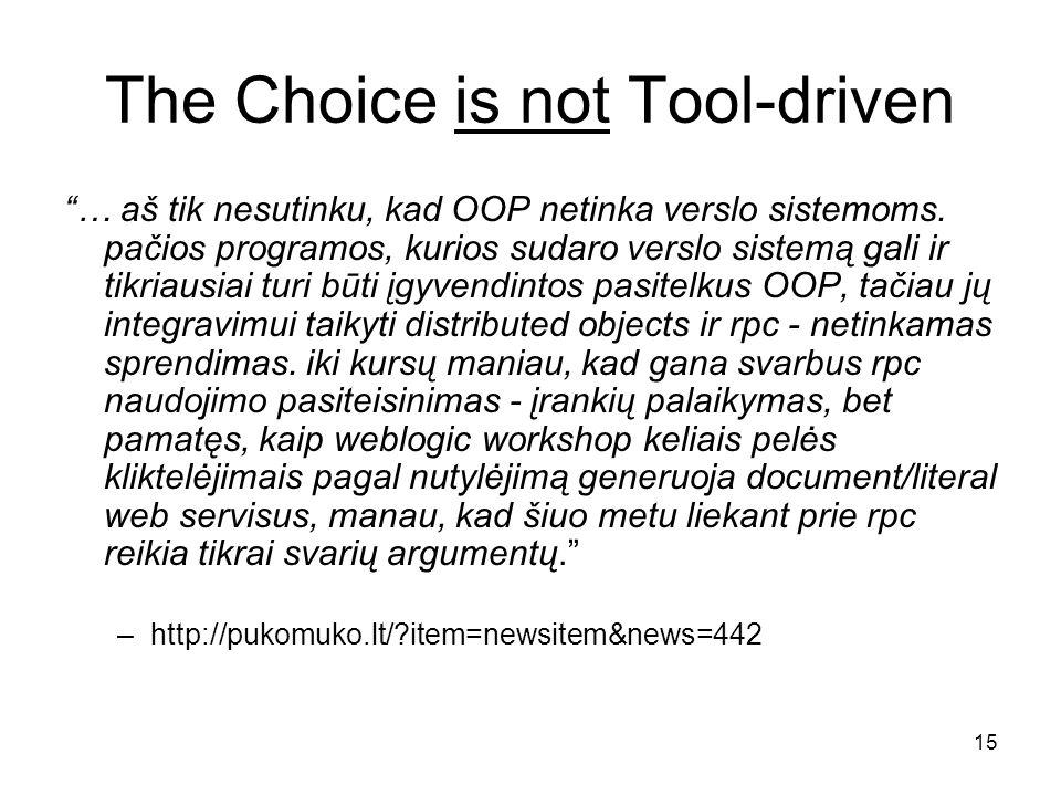 15 The Choice is not Tool-driven … aš tik nesutinku, kad OOP netinka verslo sistemoms.