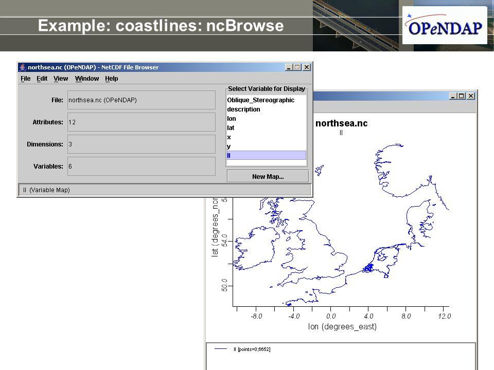 Example: coastlines: ncBrowse