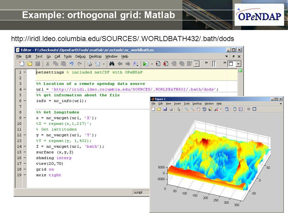 Example: orthogonal grid: Matlab http://iridl.ldeo.columbia.edu/SOURCES/.WORLDBATH432/.bath/dods