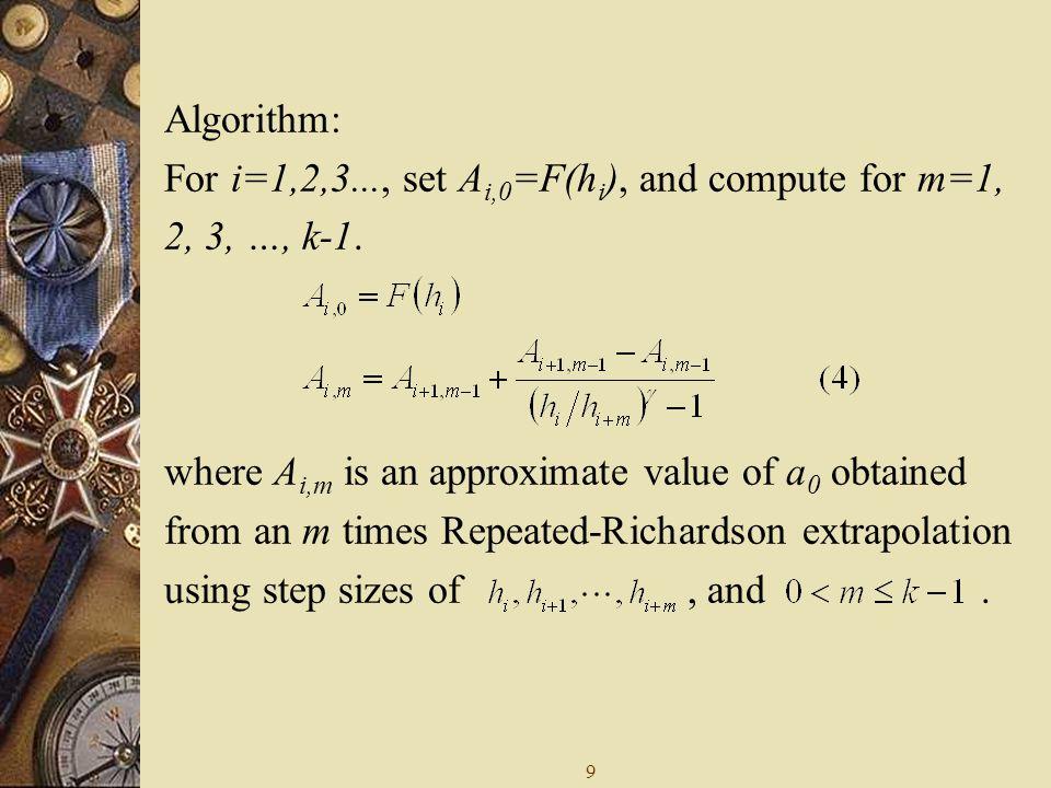 9 Algorithm: For i=1,2,3..., set A i,0 =F(h i ), and compute for m=1, 2, 3, …, k-1.