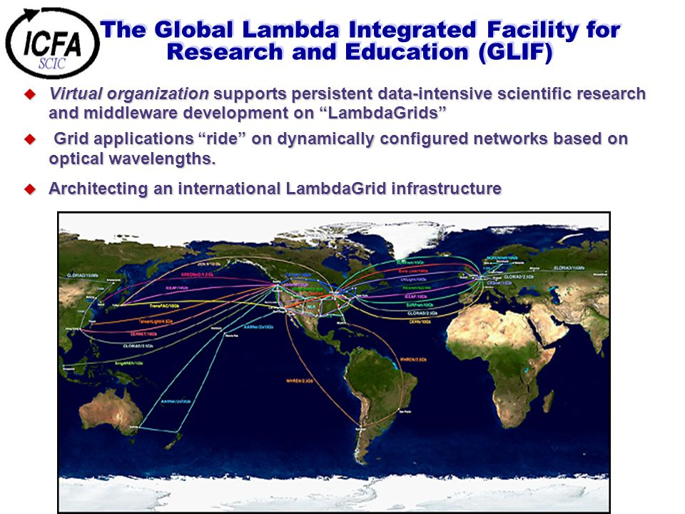 The Global Lambda Integrated Facility for Research and Education (GLIF) u Virtual organization supports persistent data-intensive scientific research and middleware development on LambdaGrids u Grid applications ride on dynamically configured networks based on optical wavelengths.