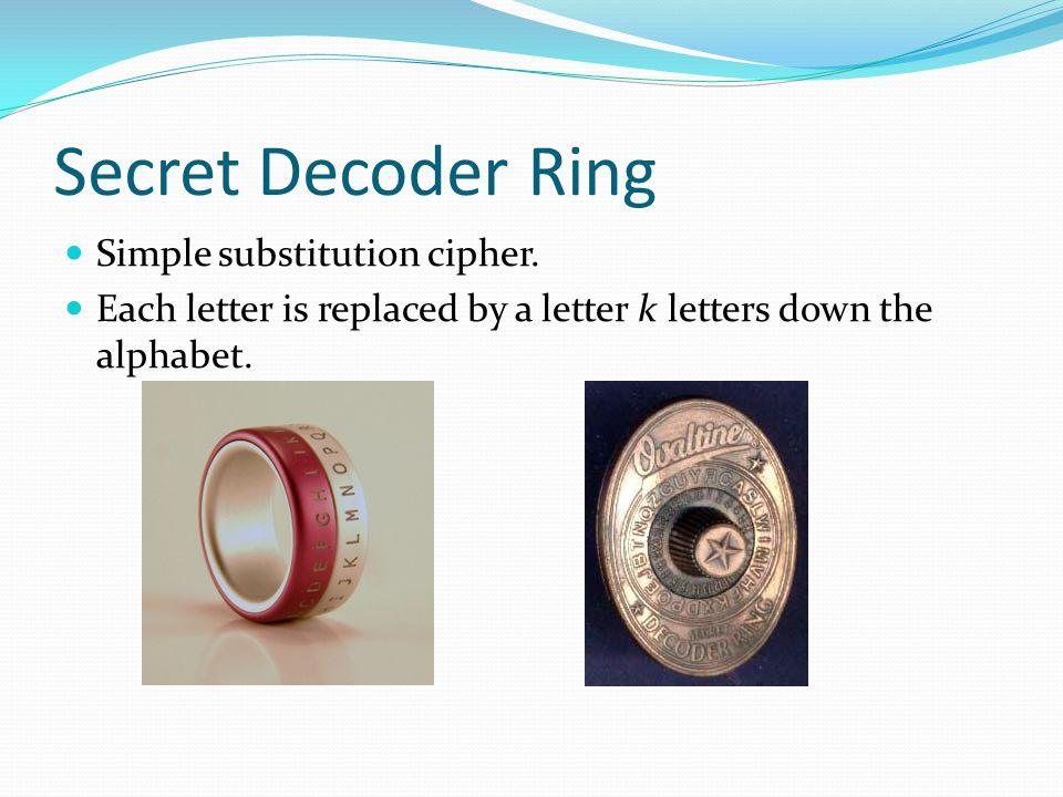 Secret Decoder Ring.Standard Caesar Code has k = 3.