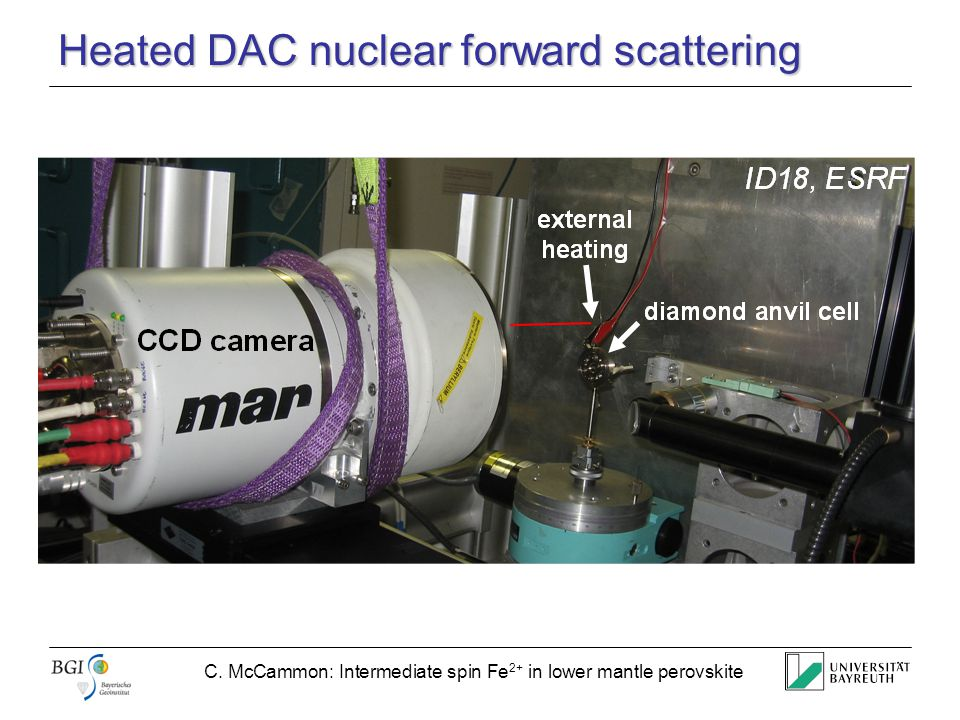 C. McCammon: Intermediate spin Fe 2+ in lower mantle perovskite Heated DAC nuclear forward scattering