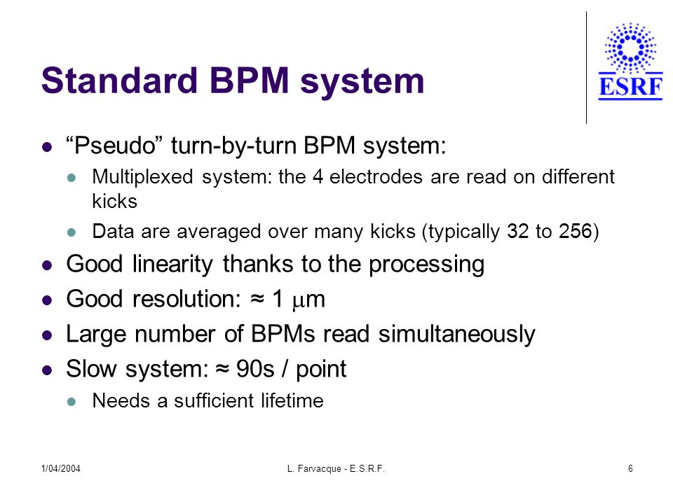 """1/04/2004L. Farvacque - E.S.R.F.6 Standard BPM system """"Pseudo"""" turn-by-turn BPM system: Multiplexed system: the 4 electrodes are read on different kic"""