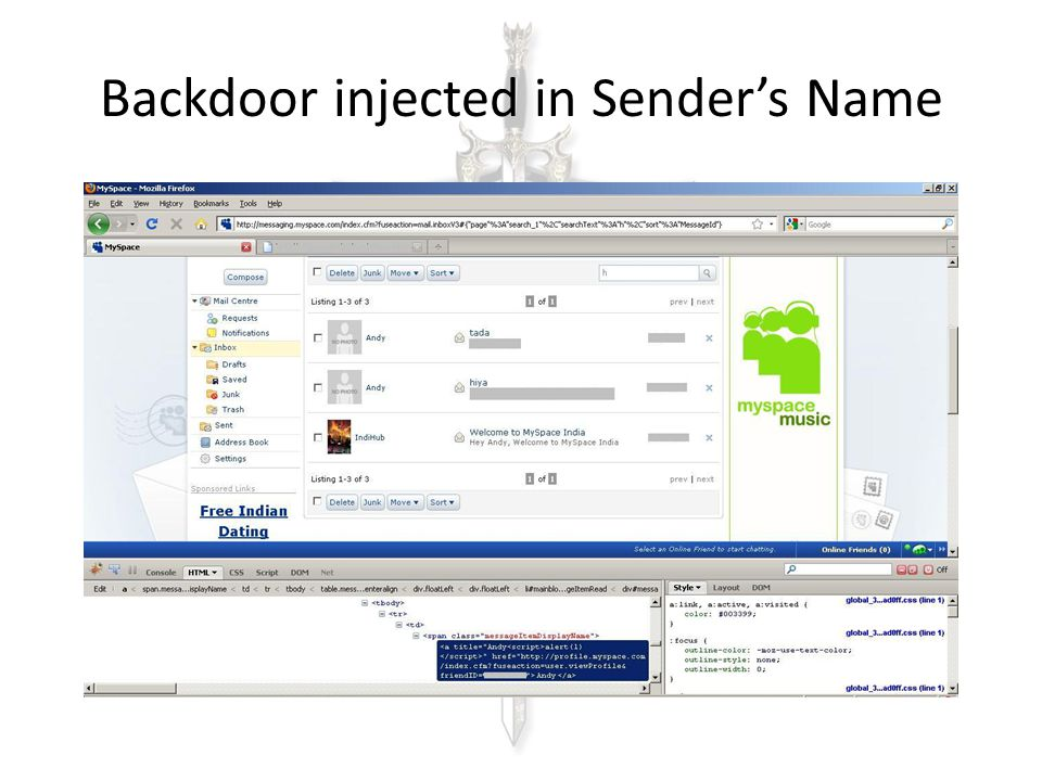 Backdoor injected in Sender's Name