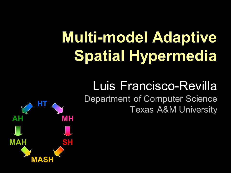 HT MASH MAH AH SH MH Multi-model Adaptive Spatial Hypermedia Luis Francisco-Revilla Department of Computer Science Texas A&M University