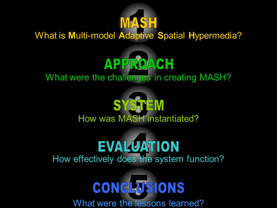 4 How effectively does the system function. 3 How was MASH instantiated.