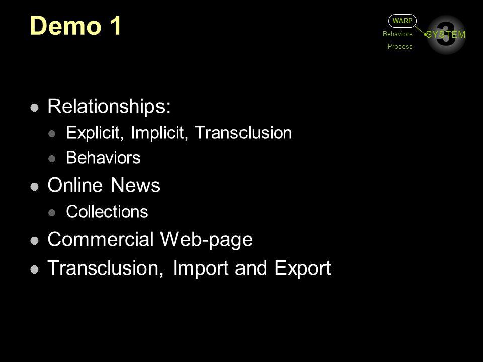 3 SYSTEM Demo 1 WARP Behaviors Process Relationships: Explicit, Implicit, Transclusion Behaviors Online News Collections Commercial Web-page Transclus