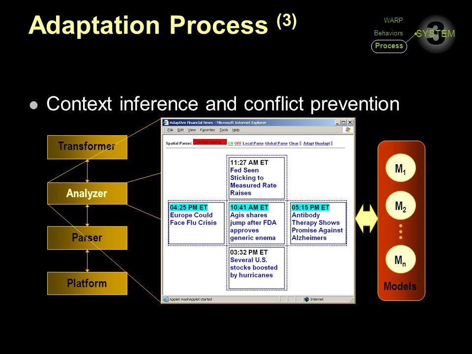 3 SYSTEM Adaptation Process (3) Context inference and conflict prevention Platform Parser Analyzer Transformer M1M1 M2M2 MnMn Models WARP Behaviors Process