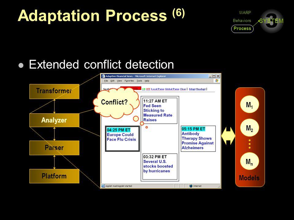 3 SYSTEM Adaptation Process (6) Extended conflict detection Platform Parser Analyzer Transformer M1M1 M2M2 MnMn Models Conflict? WARP Behaviors Proces