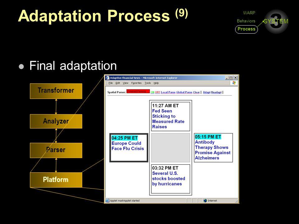 3 SYSTEM Adaptation Process (9) Final adaptation Platform Parser Analyzer Transformer WARP Behaviors Process