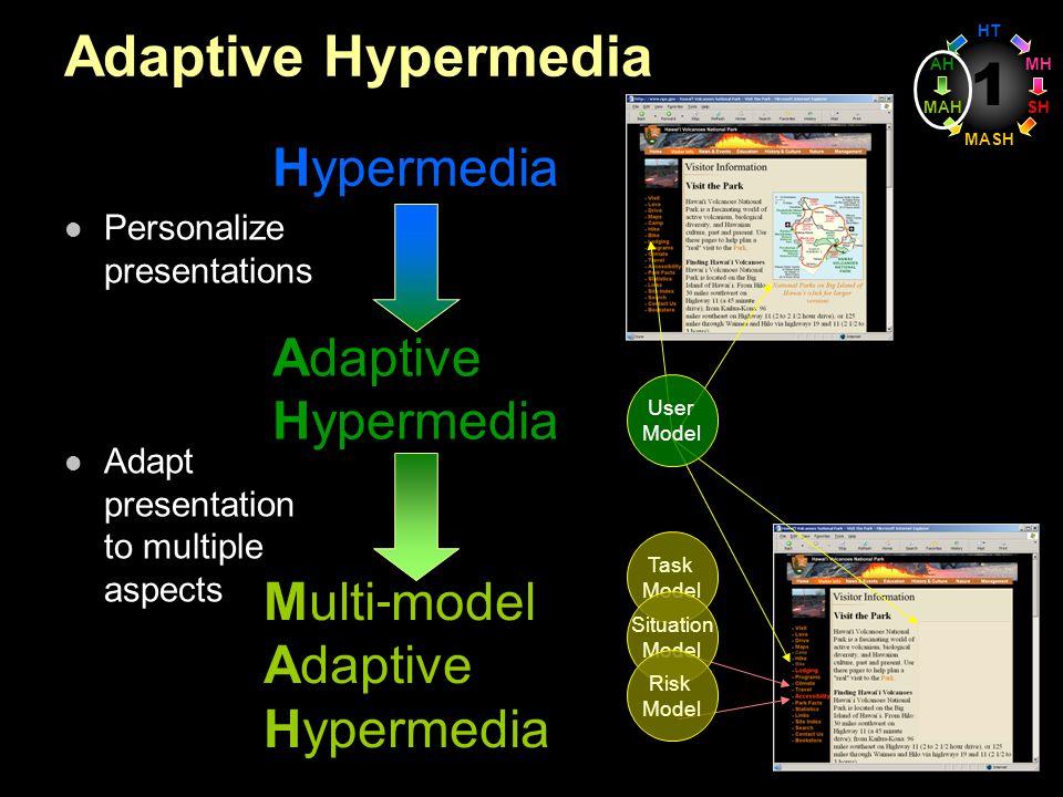 1 Adaptive Hypermedia Personalize presentations Adapt presentation to multiple aspects Hypermedia Multi model Adaptive Hypermedia Adaptive Hypermedia