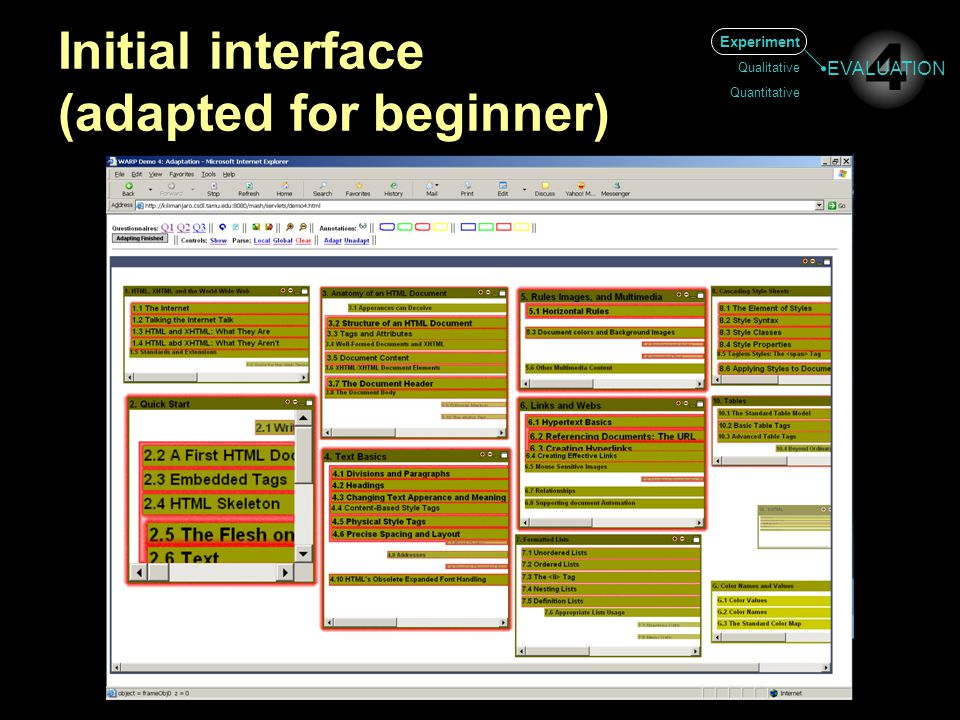 Initial interface (adapted for beginner) Experiment Qualitative Quantitative 4 EVALUATION