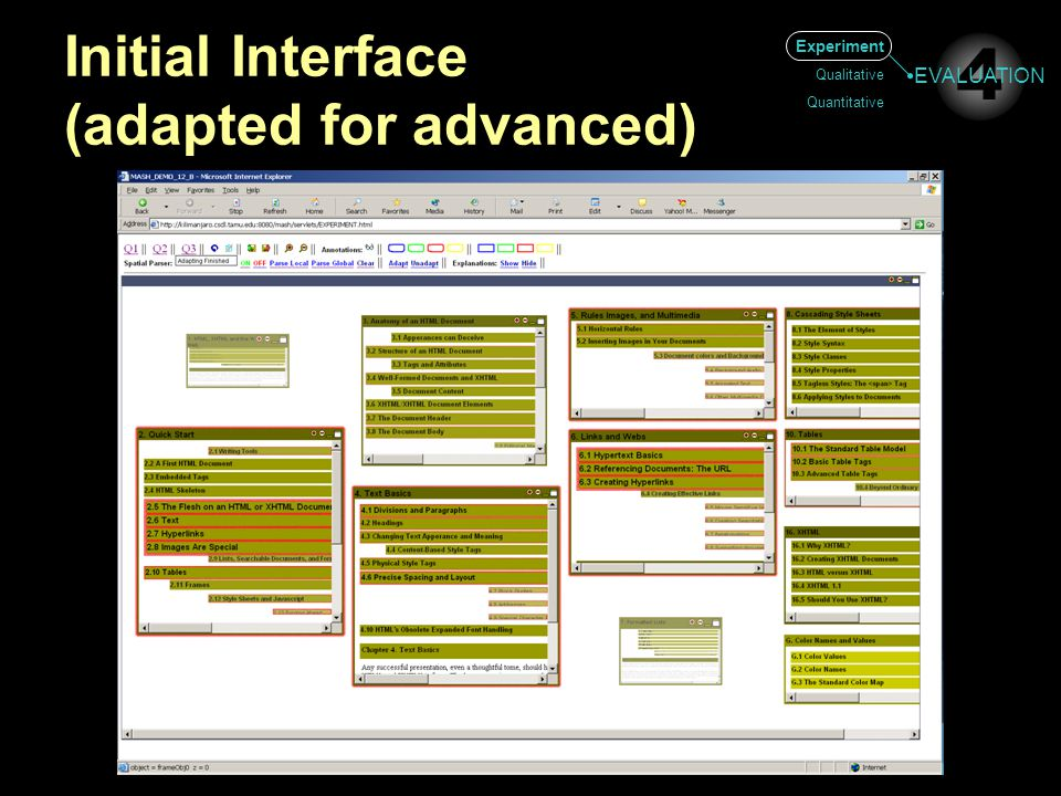 Initial Interface (adapted for advanced) Experiment Qualitative Quantitative 4 EVALUATION
