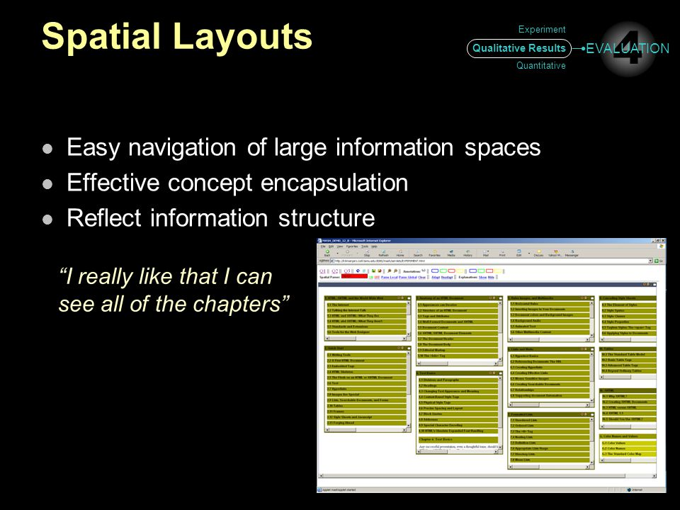 Spatial Layouts Easy navigation of large information spaces Effective concept encapsulation Reflect information structure I really like that I can see all of the chapters Experiment Qualitative Results Quantitative 4 EVALUATION