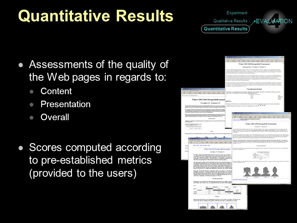 Quantitative Results Assessments of the quality of the Web pages in regards to: Content Presentation Overall Scores computed according to pre-establis