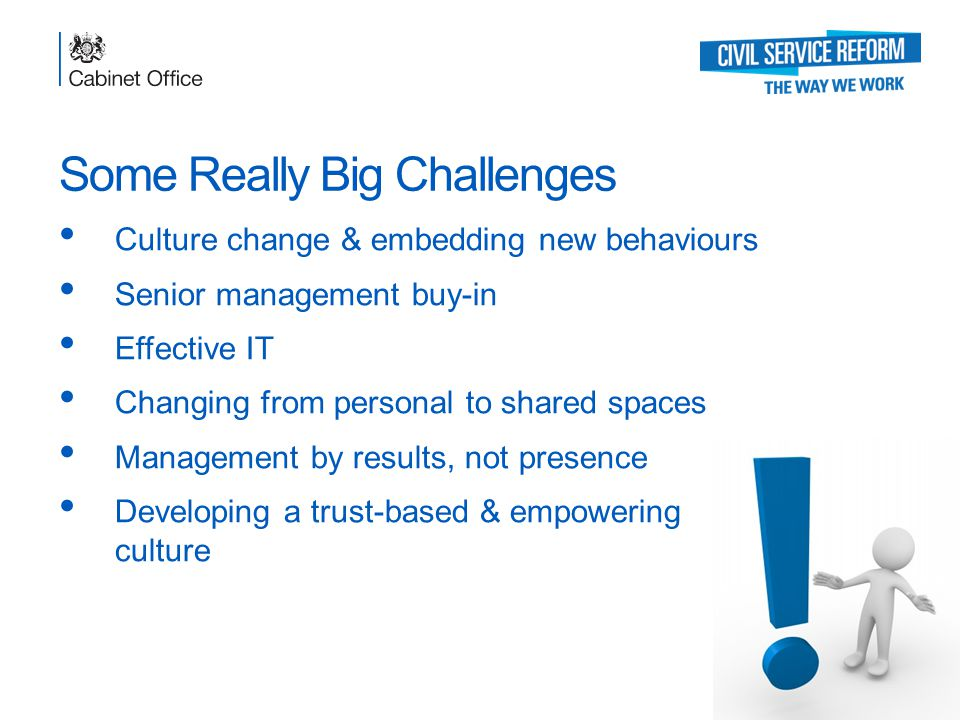 Some Really Big Challenges Culture change & embedding new behaviours Senior management buy-in Effective IT Changing from personal to shared spaces Management by results, not presence Developing a trust-based & empowering culture Transforming the Government Workplace