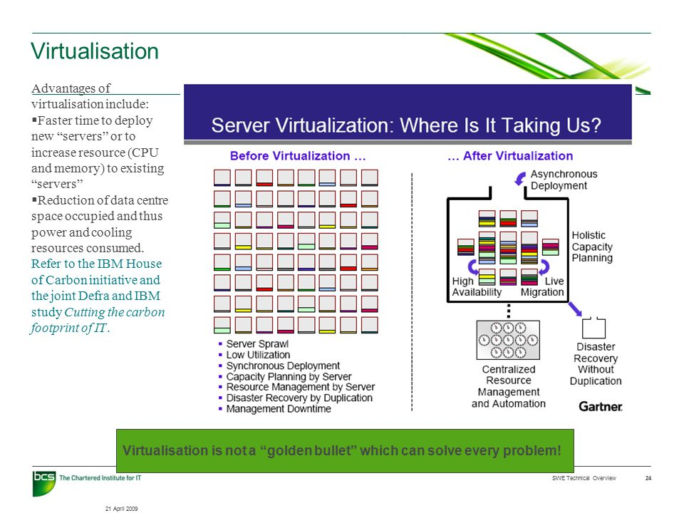 21 April 2009 SWE Technical Overview 24 Virtualisation Advantages of virtualisation include:  Faster time to deploy new servers or to increase resource (CPU and memory) to existing servers  Reduction of data centre space occupied and thus power and cooling resources consumed.