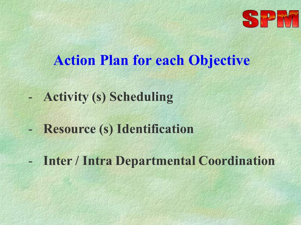 Objectives and targets should be: (a)Specific (b)Realistic (c)Measurable (d)Result oriented (e)Quality bound (f)Time bound (g)Attainable with stretch