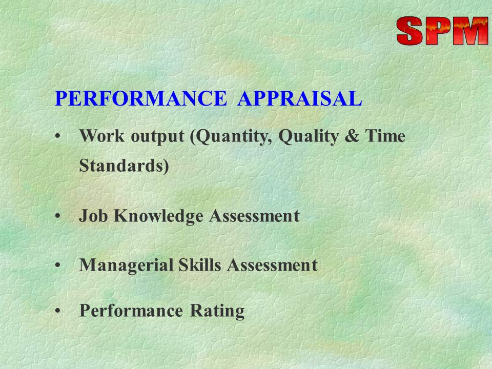 -Comparison of Targets v/s Achievements, after adjusting for major policy changes and exceptional circumstances -Competency Assessment -Training & Dev