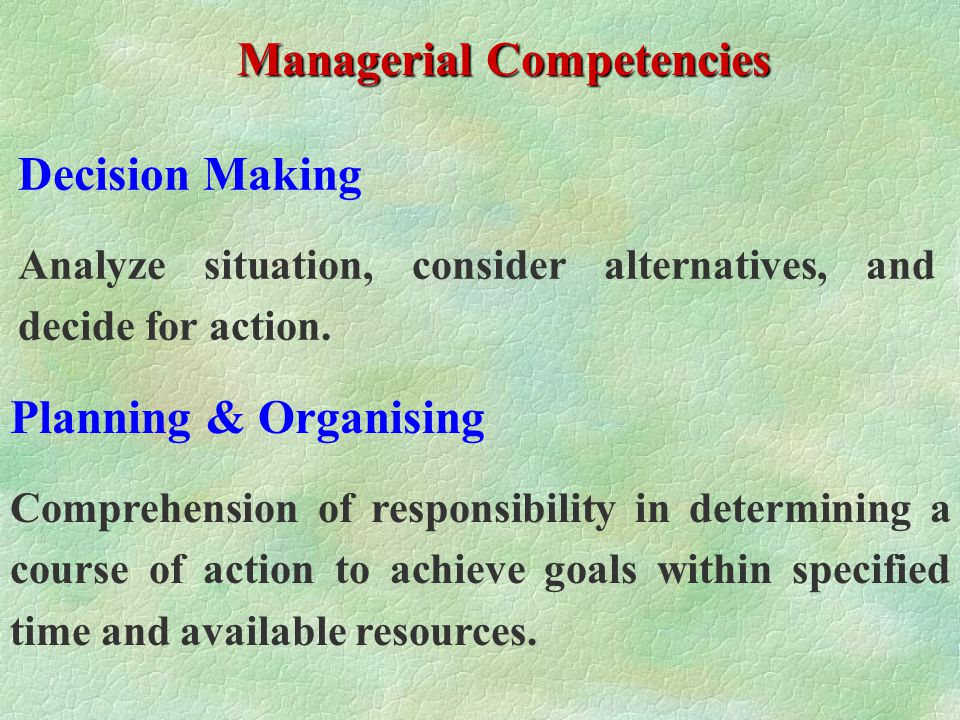 Managerial Competencies (by Berger) Decision Making Planning & Organising Creativity / Initiative Leadership & Motivation Delegation Dependability Communication PERFORMANCE APPRAISAL