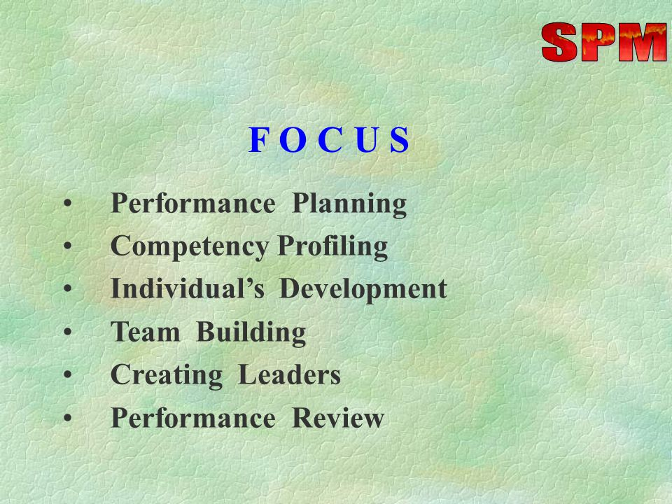 F O C U S Performance Planning Competency Profiling Individual's Development Team Building Creating Leaders Performance Review