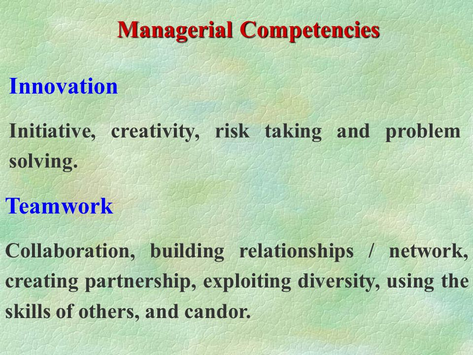 The Way Forward Profiling of Managerial & Functional Competencies for each position, with level required Competency Assessment of Individual Managers Gap Analysis and Individual Development Plan Performance Rating on a scale of 5 Competency Based Management