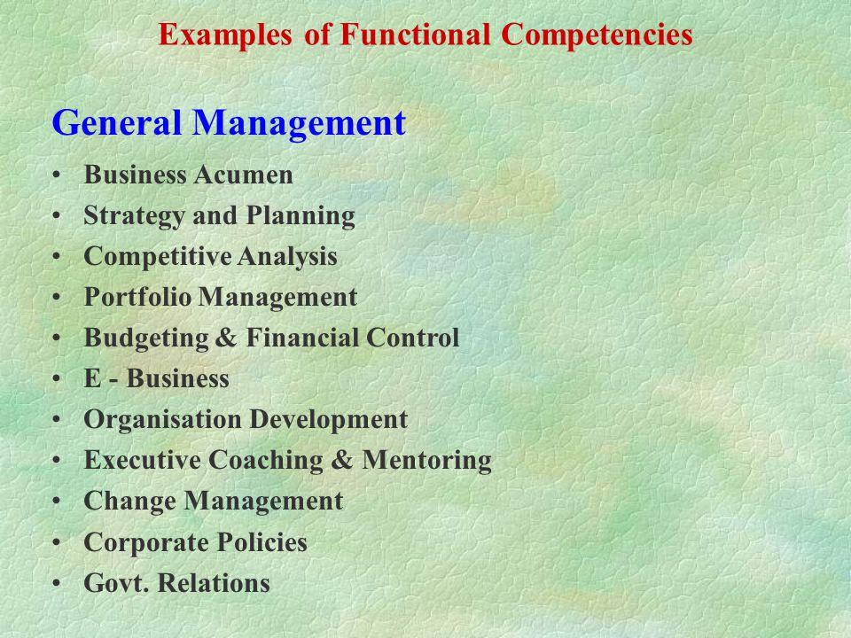 Functional Competencies Job specific General Management Marketing, Sales & Distribution Production & Q.