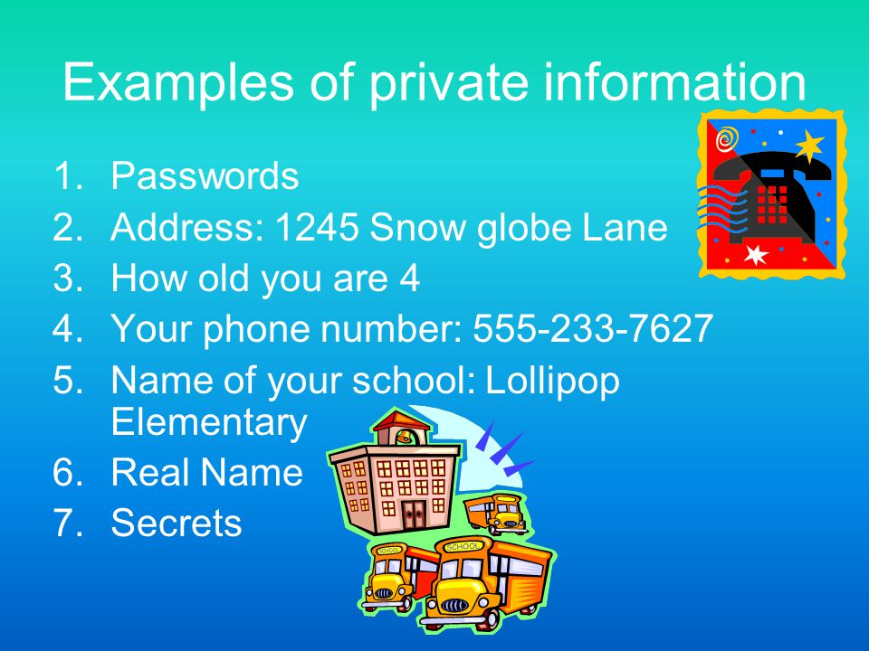 Examples of private information 1.Passwords 2.Address: 1245 Snow globe Lane 3.How old you are 4 4.Your phone number: 555-233-7627 5.Name of your schoo