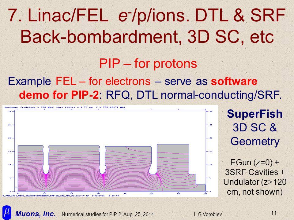 Muons, Inc. Numerical studies for PIP-2, Aug. 25, 2014L.G.Vorobiev 11 7. Linac/FEL e - /p/ions. DTL & SRF Back-bombardment, 3D SC, etc PIP – for proto