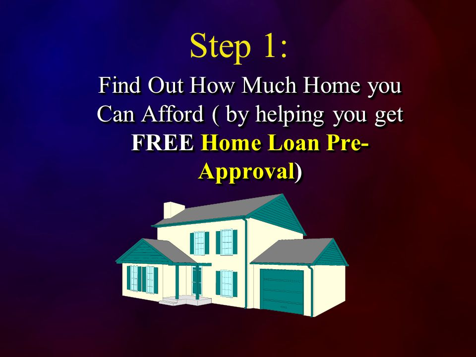 Step 1: Find Out How Much Home you Can Afford ( by helping you get FREE Home Loan Pre- Approval)