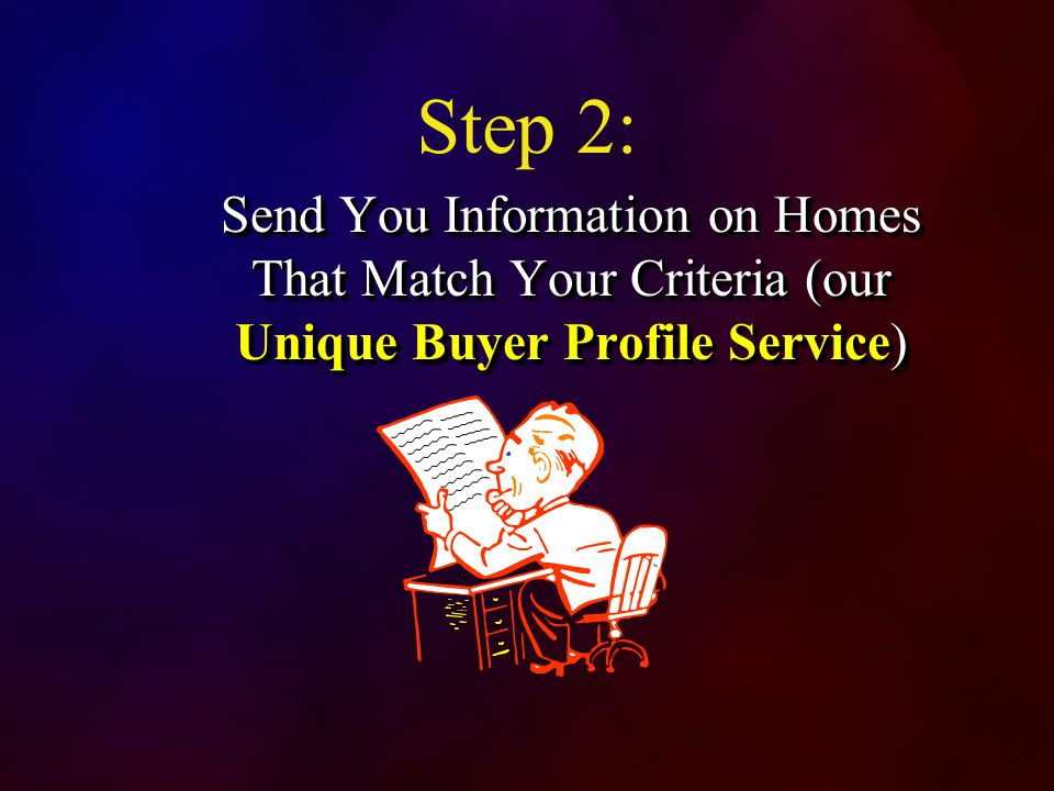 Step 2: Send You Information on Homes That Match Your Criteria (our Unique Buyer Profile Service)