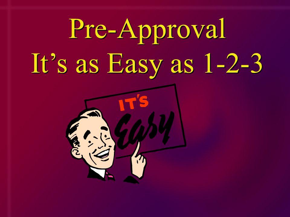 Pre-Approval It's as Easy as 1-2-3