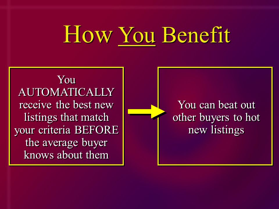 You AUTOMATICALLY receive the best new listings that match your criteria BEFORE the average buyer knows about them You can beat out other buyers to hot new listings How You Benefit