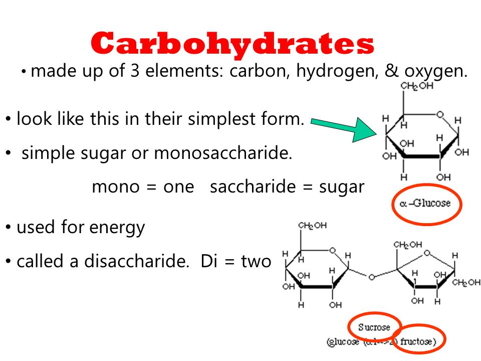 Carbohydrates made up of 3 elements: carbon, hydrogen, & oxygen.