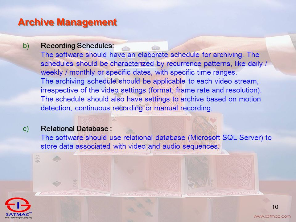 10 Archive Management b)Recording Schedules: The software should have an elaborate schedule for archiving.