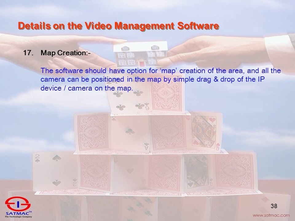38 Details on the Video Management Software 17.Map Creation:- The software should have option for ' map ' creation of the area, and all the camera can be positioned in the map by simple drag & drop of the IP device / camera on the map.
