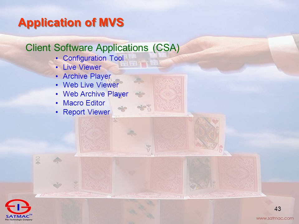 43 Application of MVS Client Software Applications (CSA) Configuration Tool Live Viewer Archive Player Web Live Viewer Web Archive Player Macro Editor Report Viewer