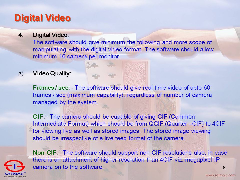 6 Digital Video 4.Digital Video: The software should give minimum the following and more scope of manipulating with the digital video format.